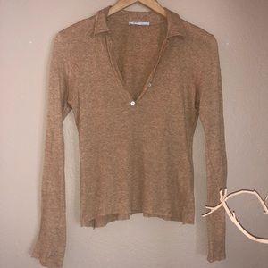 Zara Cinnamon Brown Polo Sweater